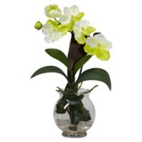 Nearly Natural Mini Vanda Silk Flower Arrangement with Fluted Vase