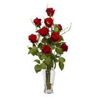 Nearly Natural Roses with Shapely Vase