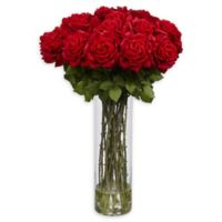 Nearly Natural Giant Rose Arrangement with Glass Vase