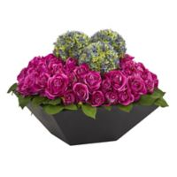 Nearly Natural 14-Inch Artificial Roses and Ball Flowers with Black Vase