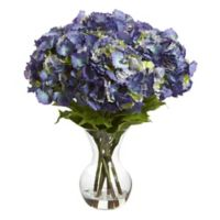 Nearly Natural 23-Inch Artificial Blue Hydrangeas Arrangement with Vase