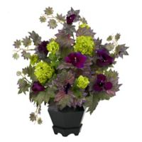 Nearly Natural 21-Inch Artificial Morning Glory and Hydrangea Arrangement with Vase