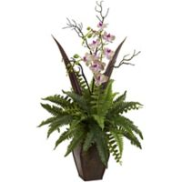 Nearly Natural 36-Inch Artificial Fern & Orchid Arrangement in Planter