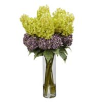 Nearly Natural 40-Inch Mixed Artificial Hydrangea Arrangement with Cylinder Vase