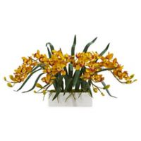 Nearly Natural 15-Inch Cymbidium Orchid Floral Arrangement in Vase in Yellow