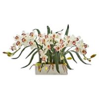 Nearly Natural 15-Inch Cymbidium Orchid Floral Arrangement in Vase in White