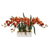 Nearly Natural 15-Inch Cymbidium Orchid Floral Arrangement in Vase in Burgundy