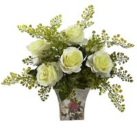 Nearly Natural™ 13-Inch White Roses and Maidenhair Fern in Floral Planter