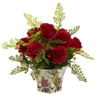 Nearly Natural™ 13-Inch Red Roses and Maidenhair Fern in Floral Planter