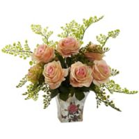 Nearly Natural™ 13-Inch Peach Roses and Maidenhair Fern in Floral Planter