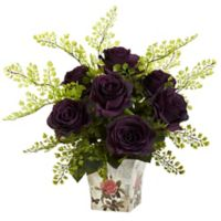 Nearly Natural™ 13-Inch Purple Roses and Maidenhair Fern in Floral Planter