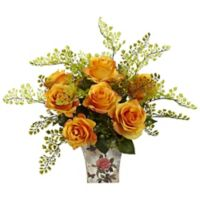 Nearly Natural™ 13-Inch Orange/Yellow Roses and Maidenhair Fern in Floral Planter