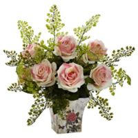 Nearly Natural™ 13-Inch Light Pink Roses and Maidenhair Fern in Floral Planter