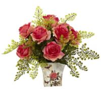 Nearly Natural™ 13-Inch Dark Pink Roses and Maidenhair Fern in Floral Planter