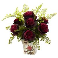 Nearly Natural™ 13-Inch Burgundy Roses and Maidenhair Fern in Floral Planter