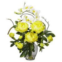 Nearly Natural 21.5-Inch Peony and Orchid Arrangement in Vase in Yellow