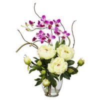 Nearly Natural 21.5-Inch Peony and Orchid Arrangement in Vase in White