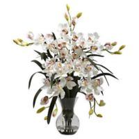 Nearly Natural Artificial Large White Cymbidium Arrangement in Vase