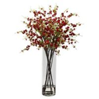 Nearly Natural 38-Inch Cherry Blossom Arrangement in Vase in Red