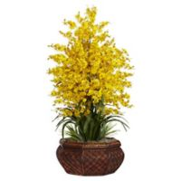 Nearly Natural 36-Inch Dancing Lady Floral Arrangement in Planter in Yellow