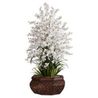 Nearly Natural 36-Inch Dancing Lady Floral Arrangement in Planter in White