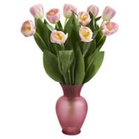 Nearly Natural 22-Inch Tulip Arrangement in Vase in Pink