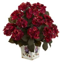 Nearly Natural 23-Inch Hydrangea Arrangement in Floral Planter in Rust