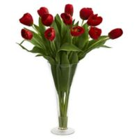 Nearly Natural Artificial Red Tulips Arrangement in Vase