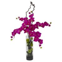 Nearly Natural 47-Inch Phalaenopsis & Hydrangea Arrangement in Vase in Orchid