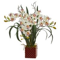 Nearly Natural 29-Inch Cymbidium Orchid Arrangement in Square Vase in White