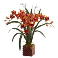 Nearly Natural 29-Inch Cymbidium Orchid Arrangement in Square Vase in Burgundy