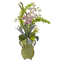 Nearly Natural 33-Inch Artificial Orchid and Bells of Ireland Arrangement with Vase