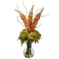 Nearly Natural 32-Inch Artificial Fox Tails and Hydrangeas Arrangement with Vase