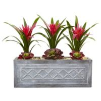 Nearly Natural Artificial Ginger & Succulent Arrangement in Planter
