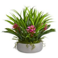 Nearly Natural 40-Inch Bromeliad Grass Artificial Arrangement in White Ceramic Vase