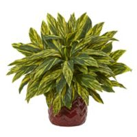 Nearly Natural Artificial Tradescantia Plant in Red Planter
