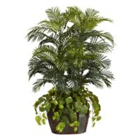 Nearly Natural 54-Inch Artificial Double Areca and Pothos Plant with Brown Vase