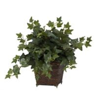 Nearly Natural 17-Inch Artificial Ivy Plant with Coiled Rope Planter