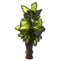 Nearly Natural 50-Inch Artificial Golden Dieffenbachia with Faux Bamboo Vase