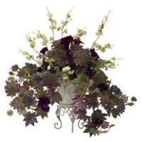 Nearly Natural Artificial Morning Glory & Cherry Blossom Arrangement in Planter