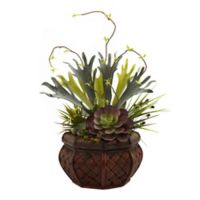 Nearly Natural 20-Inch Artificial Succulent Garden with Planter