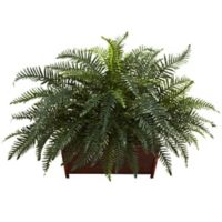 Nearly Natural 29-Inch Artificial River Fern with Wood Planter