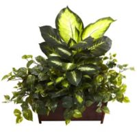 Nearly Natural 30-Inch Artificial Dieffenbachia, Philo, and Pothos with Wood Planter