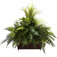 Nearly Natural 36-Inch Artificial Mixed Grass and River Fern with Wood Planter