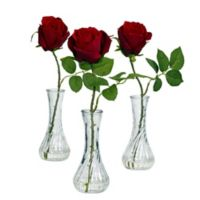 Nearly Natural 12-Inch Artificial Roses in Glass Bud Vases (Set of 3)