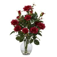 Nearly Natural 22-Inch Rose Bush Artificial Arrangement with Glass Vase