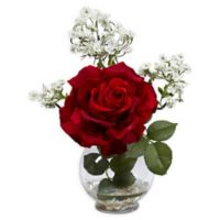 Nearly Natural Rose & Queen Ann's Lace Floral Arrangement