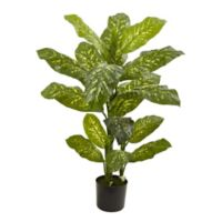Nearly Natural 48-Inch Artificial Dieffenbachia Plant with Black Planter