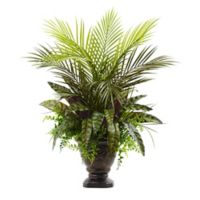 Nearly Natural 27-Inch Mixed Areca Palm, Fern, and Peacock with Planter
