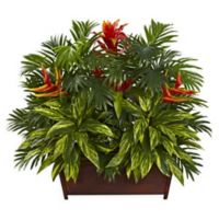 Nearly Natural Tropical Garden with Wooden Planter